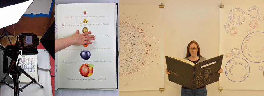 L-R; photographing the giant 'Connecting Brain Tumour Narratives' book on the Sunday of my week curating, accidental shot with my arm in, me with the giant book at an exhibition
